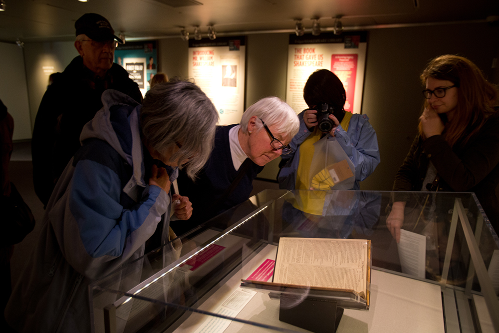 The public checks out a Shakespeare First Folio on exhibit at the Seattle Public Library in Seattle, WA (photo © Karen Ducey)